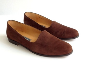 Vintage Cole Haan Brown Suede Shoes, Women's 9B Slip On Flats, Made in Italy, Brown Loafers