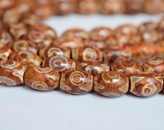 """14"""" Brown Bulk tibetan Dzi 10x14mm barrel beads, Brown Dzi agate, antique DZI drum beads, High quality DZI beads"""
