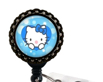 HELLO KITTY 3D Bottle Cap Retractable ID Badge Reel Blue