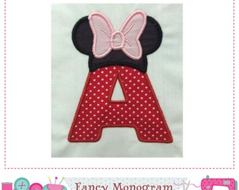 Mouse Ears Monogram A applique,Minnie Letter A applique,A,Font A,Birthday Leter design,Girl Birthday,A,Minnie,Minnie applique.-01t