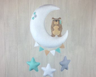 Baby mobile - bear mobile - star mobile - tribal mobile - moon mobile - cloud mobile - bear mobile - tribal bear - bunting - nursery decor