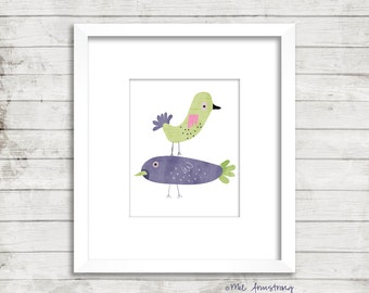 Nursery art print Watercolour Birds, Giclee Art Print, birds, archival art print