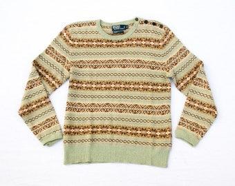 Polo Ralph Lauren Fair Isle Sweater w/Military Shoulder (Linen/Cotton/Silk)