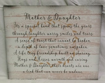 Mother Daughter Wood Sign or Canvas Wall Hanging - White Pallet - Christmas,  Birthday, Mother's Day Gift, Valentine's Day