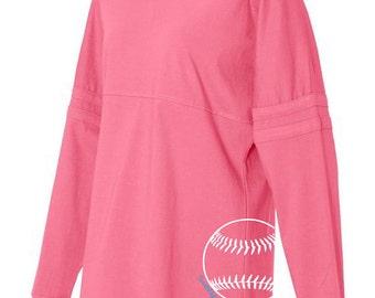 Softball Pom Pom Jersey Top - Hot Pink, Black, and Grey Long-Sleeved Women's Softball T-Shirt