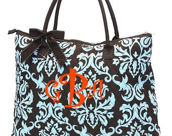 "Personalized Quilted Paisely Tote with Detachable Bow - Large 18"" Brown and Turquoise Tote Bag - DAQ2705-BRTQ"