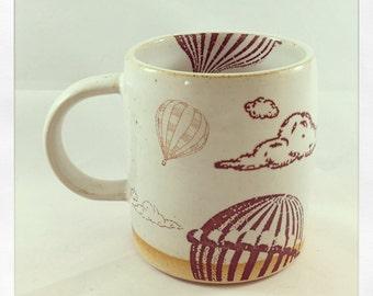 Up and Away! Black Cat Hot Air Ballon- mug