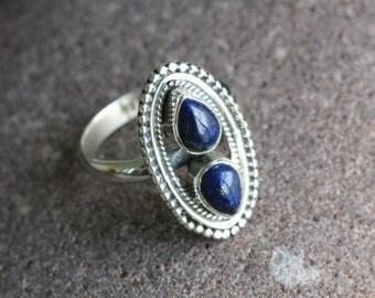 Lapis Lazuli Ring Oval,Lapis Ring, Silver ring,  US5, US6, US6.5, US7, US 8