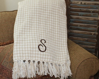 Personalized Tan/Cream Houndstooth Chenille Blanket- Very Soft!  You choose how you want it monogrammed!