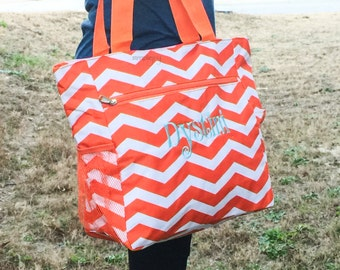 Orange White Tote Bag, Clemson Bag, South Carolina Bag, Monogrammed Canvas Bag, Beach Bag, Virginia Tech Bag, Tailgate Bag, Gift for her