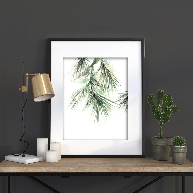 Minimalist Pine Tree: Minimalist Green Art Print Pine Tree Brunch By CanotStopPrints