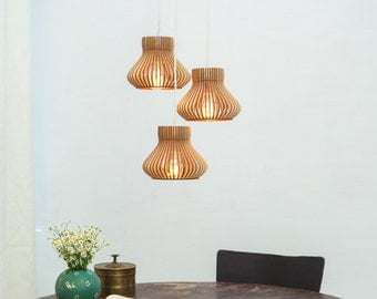 Set of 3 wooden hanging lamps / set of three wooden hanging lamps / three wooden lamps / 3 hanging lamps / set of wooden lamps
