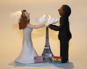Polymer Clay Couple in Paris Wedding Cake Topper, Eiffel Tower, Handmade, French, Wedding Cake Topping, Decoration Personalized Gift, Topper