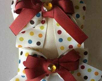 Multicolor rust polka dot bow set