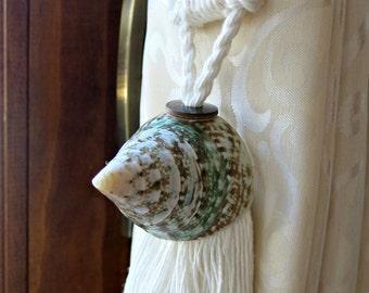Two nautical curtain tie back - curtain holdback - seashell curtain tiebacks - pyramid shells - drapery tieback - beach house