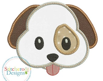 Dog Emoji Applique Design -In Hoop sizes4 x 4, 5 x 7, 7x7, 9x9 - Instant Download - for Embroidery Machines