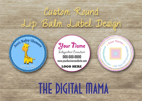 custom round lipbalm label design template round lip balm. Black Bedroom Furniture Sets. Home Design Ideas