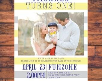 Birthday Party Invitation First Birthday Invite Card 1st Birthday Party Baby Boy Baby Girl Stripe Photo Party Digital Printable BBP005