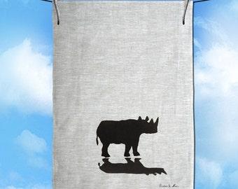 Rhinoceros with Shadow Hand Screen Printed Silhouette  Pure Linen Tea Towel Free Shipping Australia Wide