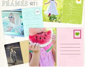 Postcard frames, Digital Frames, Retro Frames, Scrapbook Frames, Frame Clipart, Template Frames, Blackboard frames,  Instant Download