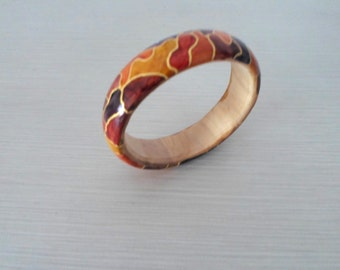 Handcrafted Wood carved bracelet (Mosaïc)