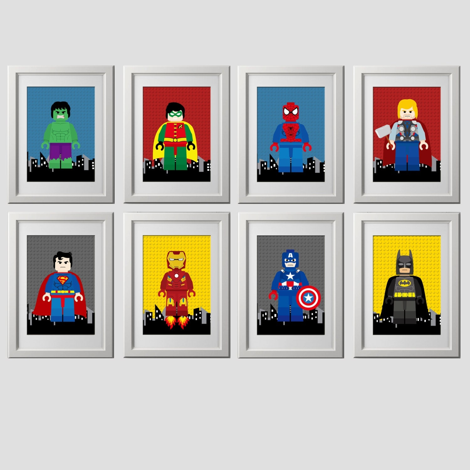 superhero bedroom wall art superhero bedroom wall decor 8x10. Black Bedroom Furniture Sets. Home Design Ideas