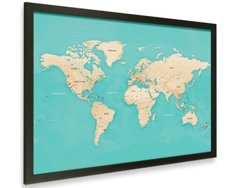 Modern World Map With Pins - Black Frame