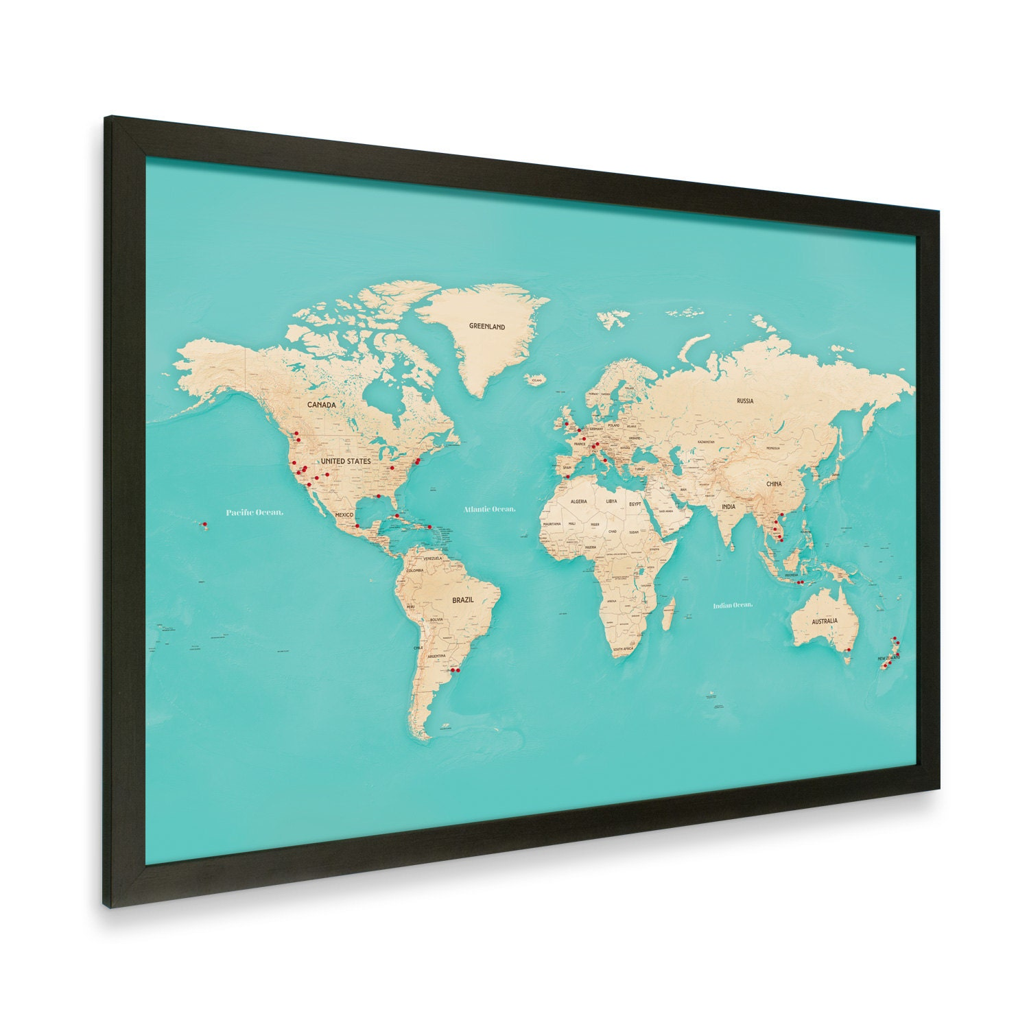 modern world map with pins black frame. Black Bedroom Furniture Sets. Home Design Ideas