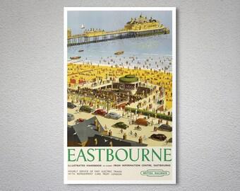 Eastbourne British Railways Vintage Travel Poster - Art Print - Poster Print, Sticker or Canvas Print