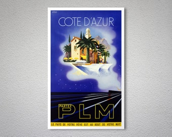 Cote d'Azur, France  Travel Poster - Poster Print, Sticker or Canvas Print / Gift Idea