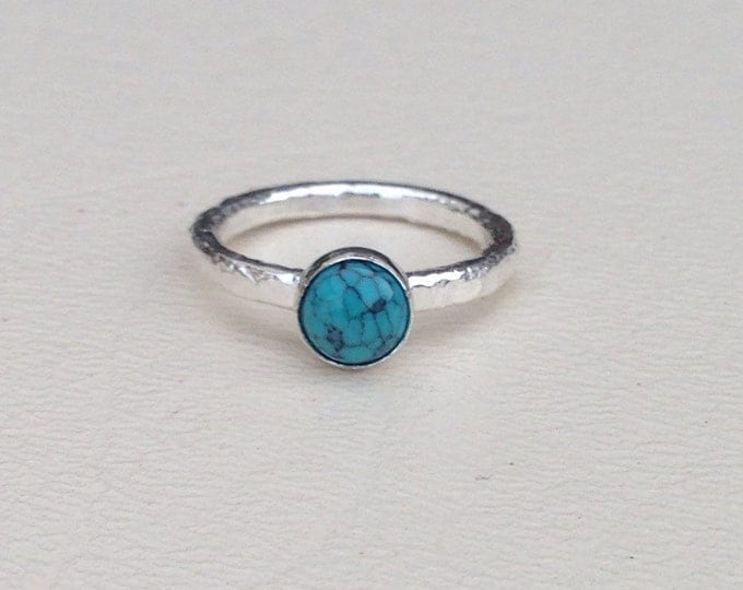 Turquoise and sterling silver ring made to order