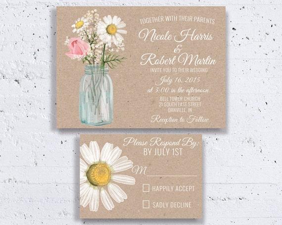 Cottage Mason Jar Wedding Invitation: Daisy Mason Jar Wedding Invitations Country By