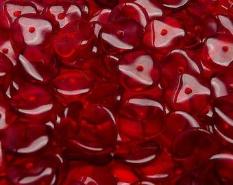 10pcs Czech Pressed Glass Ripple Round Beads 12mm Ruby