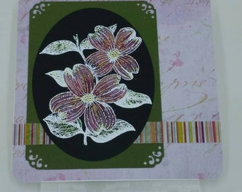 Unique Purple Floral Design Handcrafted, Watercolored, Embossed Friendship, Birthday, Anniversary card