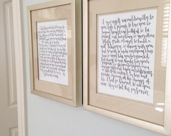 Wedding Vow Calligraphy