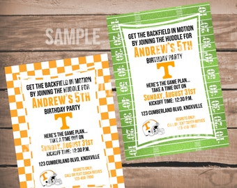 Tennessee Vols Football Birthday Invitation with Checkerboard or Football Background