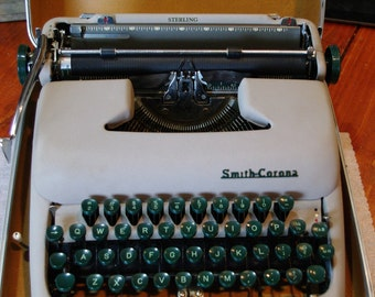Smith Corona Sterling manual portable typewriter with case
