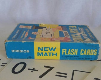 Flash Cards, Division Flash Cards, New Math, Vintage Flash Cards, Vintage Schooling, Milton Bradley, Educational Toy
