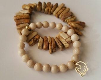 Riverstone Bead Beacelet | Picture Jasper Bracelet Set | Charm Bracelet