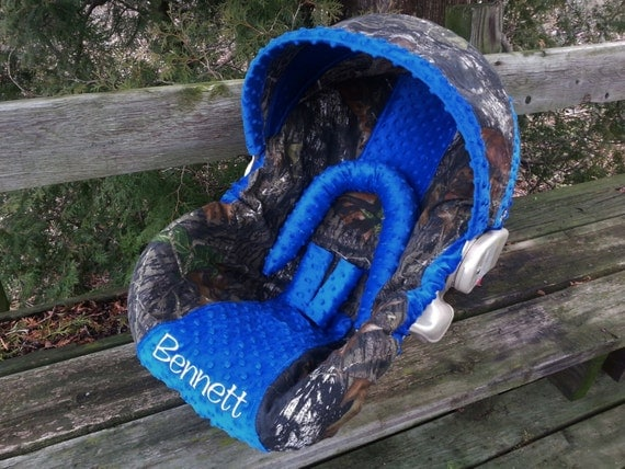 Camo Infant Car Seat Cover Mossy Oak Fabric And Royal Blue