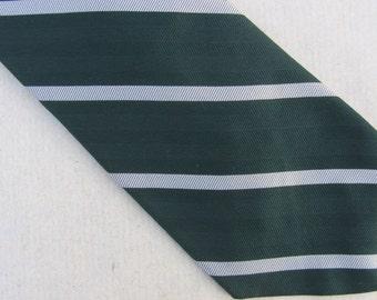 Vintage 40s Silk Necktie Green Gray Stripe Tie Hathaway