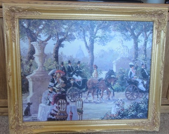 "Robert Lebron Oil on Canvas Titled "" Promenade Along Bois de Bologne"""