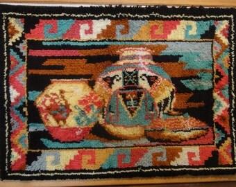 Huge Southwestern Theme Hooked Rug/ Framed