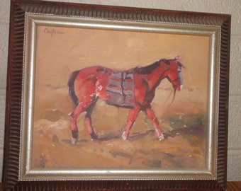Vintage Native American Painting on Board/Signed