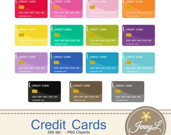 Credit Card Clipart, Debit Card for Planners, Digital Scrapbooking, Invitations, cupcake toppers, Stickers, Labels