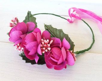 Toddler flower crown, bridesmaid crown, flower girl wreath, violet magenta and pink roses ,baby bridal accessory
