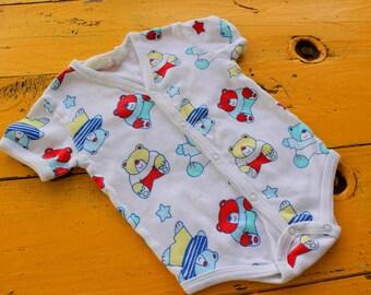 Vintage BABY BOY V-Neck Train Romper Size 3-6 Months, vintage baby boy outfit, retro baby boy clothes, 3 month vintage onesie, v-neck onesie