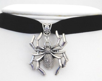13mm Black Velvet Silver Spider Choker Necklace - Victorian-Gothic–Wiccan