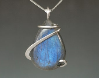 Labradorite Blue Sheen Teardrop Cold Forged Sterling Silver Pendant