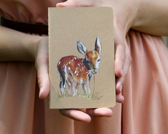 Fawn Hand Decorated Lined Mini Moleskine Journal, blank journal